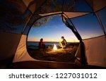 view from inside tourist tent...   Shutterstock . vector #1227031012