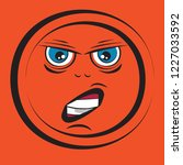 cartoon orange face with... | Shutterstock .eps vector #1227033592