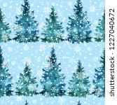 christmas tree hand paint... | Shutterstock . vector #1227040672