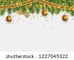 christmas border with fir... | Shutterstock .eps vector #1227045322