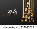 german text frohe weihnachten.... | Shutterstock .eps vector #1227045325