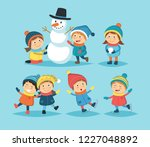 winter children set with... | Shutterstock .eps vector #1227048892
