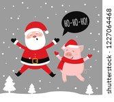 merry christmas  santa and pig...   Shutterstock .eps vector #1227064468