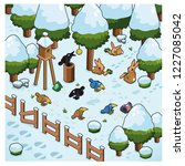 birds feeding on birdseed ... | Shutterstock .eps vector #1227085042