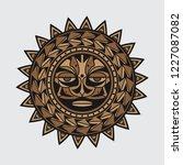 polynesian tattoo design face ... | Shutterstock .eps vector #1227087082
