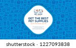 Stock vector pet shop banner template with logo badge and outline pattern in square form card flyer poster 1227093838