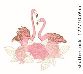exotic pink flamingo birds... | Shutterstock .eps vector #1227105955