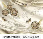 3d wallpaper  jewelry flowers... | Shutterstock . vector #1227121525