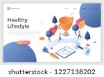 web page with man and woman... | Shutterstock .eps vector #1227138202