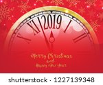 vector 2019 happy new year with ... | Shutterstock .eps vector #1227139348
