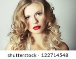 sexy blond girl with red lips... | Shutterstock . vector #122714548