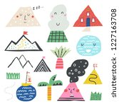 nature mountains set. vector... | Shutterstock .eps vector #1227163708
