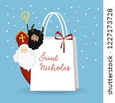 cute st. nicholas with devil... | Shutterstock .eps vector #1227173728