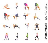 routine exercises flat icons   | Shutterstock .eps vector #1227173812