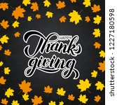 happy thanksgiving written with ... | Shutterstock .eps vector #1227180598