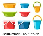 collection of water containers. ... | Shutterstock .eps vector #1227196645