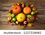 thanksgiving table centerpiece... | Shutterstock . vector #1227218482