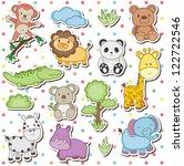 happy wild animals clip art | Shutterstock .eps vector #122722546