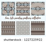 fair isle style brown beige... | Shutterstock .eps vector #1227225922
