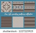 fair isle style brown white... | Shutterstock .eps vector #1227225925