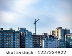 construction crane among the... | Shutterstock . vector #1227234922