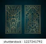 gold art deco panels on dark... | Shutterstock .eps vector #1227241792