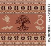 knit seamless woolen ornament... | Shutterstock .eps vector #1227248968