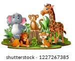 Stock vector happy animals cartoon in the park with green plants 1227267385