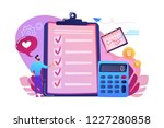 financial analyst planning at...   Shutterstock .eps vector #1227280858