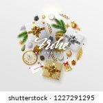 german text frohe weihnachten.  ... | Shutterstock .eps vector #1227291295