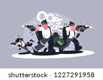 group of robbers in masks with... | Shutterstock .eps vector #1227291958