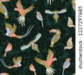 tropical pattern with birds ... | Shutterstock .eps vector #1227297685