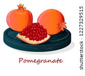 pomegranate hand drown vector... | Shutterstock .eps vector #1227329515