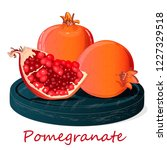 pomegranate hand drown vector... | Shutterstock .eps vector #1227329518