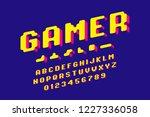 gamer font  3d stylized pixel... | Shutterstock .eps vector #1227336058