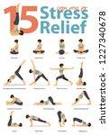 set of yoga postures female... | Shutterstock .eps vector #1227340678