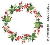 christmas watercolor wreath of...   Shutterstock . vector #1227341872