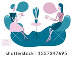 two young women sitting at... | Shutterstock .eps vector #1227347695