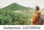 explorer backpacker young man... | Shutterstock . vector #1227350932
