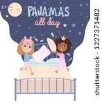 pajama party poster with fun... | Shutterstock .eps vector #1227371482