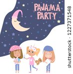 pajama party poster with fun... | Shutterstock .eps vector #1227371548
