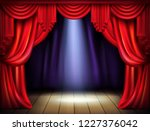 empty stage with opened red... | Shutterstock .eps vector #1227376042