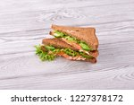 sandwich with bread toasts  red ... | Shutterstock . vector #1227378172