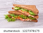 sandwich with bread toasts  red ... | Shutterstock . vector #1227378175