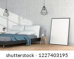 mock up blank poster interior...   Shutterstock . vector #1227403195