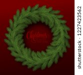 green spruce wreath on a red... | Shutterstock .eps vector #1227423562