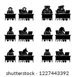 different type of animals using ... | Shutterstock .eps vector #1227443392