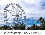 blue sky with ferris wheel ... | Shutterstock . vector #1227444928