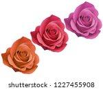 Three Rose Flowerhead Red...