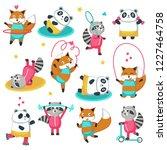 fitness raccoon panda fox icon... | Shutterstock . vector #1227464758